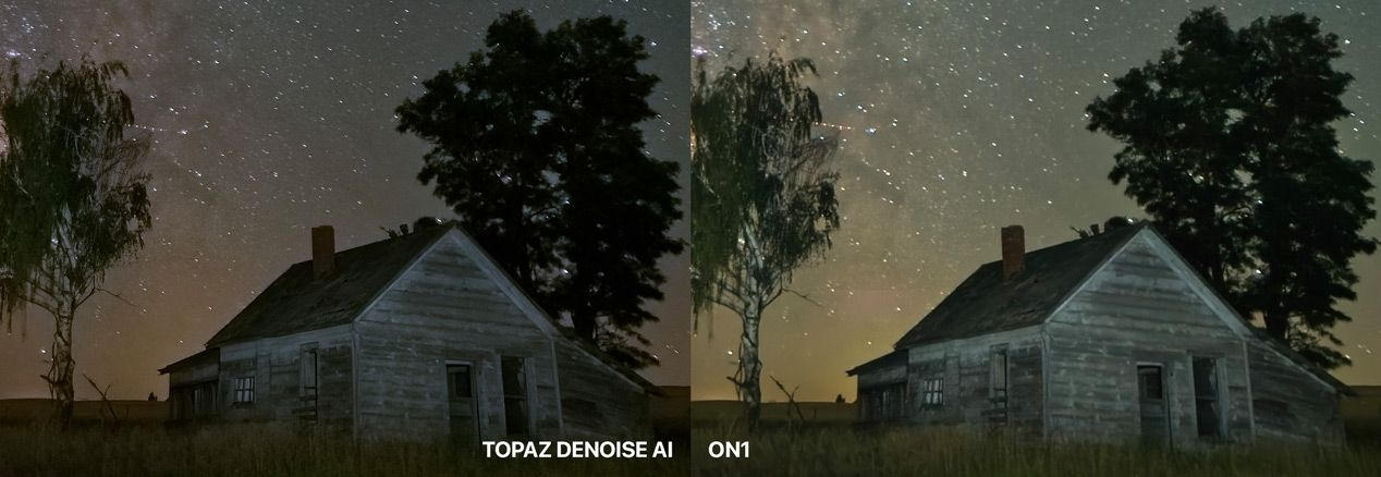 Topaz DeNoise AI Compared to ON1 at 200%